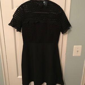 Nordstrom Black Silk/ Lace Mock Neck Dress, Size 2